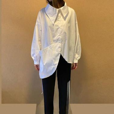 Asymmetric Exaggerated Collar and Bold Pocket Long Sleeve Blouse
