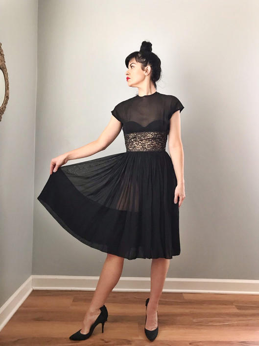Vintage 50s Sheer Fit and Flare Illusion Dress by SpeakVintageDC