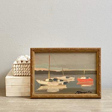 Miniature Sailboat Oil Painting Original Signed Nautical Harbor Seascape by ModRendition