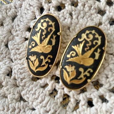Vintage Statement Earrings, Damascene, Birds Floral, Studs, Ovals by GabAboutVintage