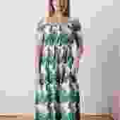 Kaia Midi Dress Layered Palms