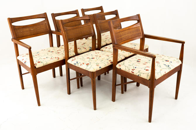Jens Risom Style Mid Century Walnut and Cane Dining Chairs - Set of 6 - mcm by ModernHill