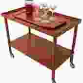 Danish Modern Teak Compact Bar Cart