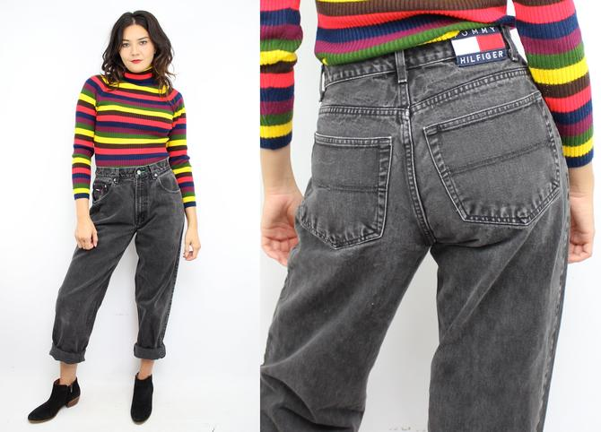 30cfae0ec Vintage 90's Black Relaxed Fit High Waisted TOMMY HILFIGER Jeans ...