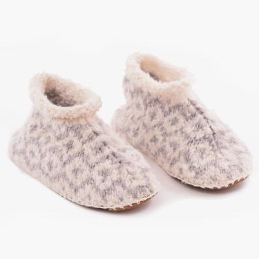 Fair Isle Knit Alpaca Slipper Beige/Grey