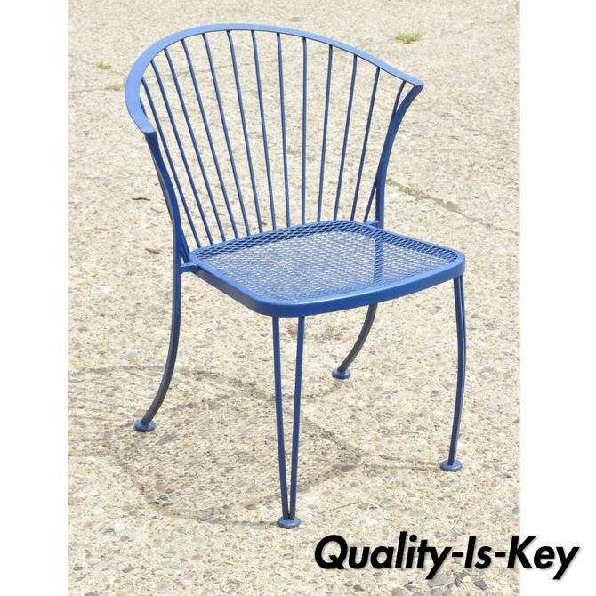 Vtg Woodard Pinecrest Blue Wrought Iron Patio Garden Dining Chair Mid Century