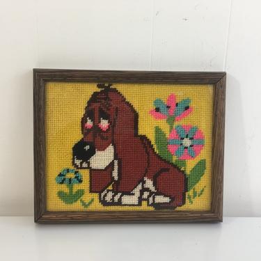 Vintage Needlepoint Basset Hound Frame Dog Framed 1970s Kitsch Retro Decor Kitchen Wall Hanging Kitschy Nursery Kids Room by CheckEngineVintage