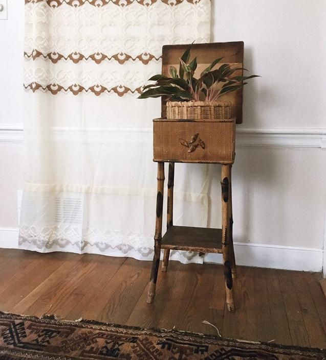 Antique scorched bamboo side table, bamboo end table, scorched bamboo sewing table, bamboo plant stand by VintageandSwoon