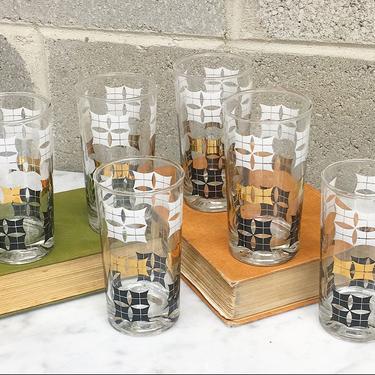 Vintage Highballs Retro 1960s Mid Century Modern + Drinking Glasses + Set of 6 + Geometric Print + Gold + Black + White + MCM Bar Kitchen + by RetrospectVintage215