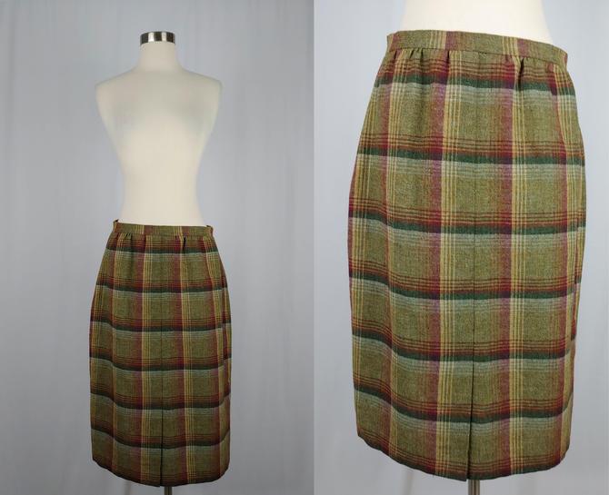 Vintage Fifties Skirt - 1950s Plaid Wool Pencil Skirt - 50s Small Wool Knee Length Wiggle Skirt - SM by JanetandJaneVintage