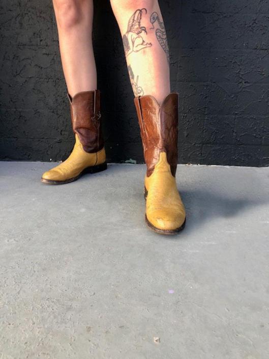 Brown Two Tone Cowboy Boots \/ w: 9.5 \/ m: 7.5