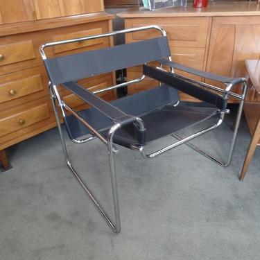 Mid Century Modern Italian chrome and black leather Wassily style chair. Marcel Breuer from furniture stores in Washington DC  Baltimore