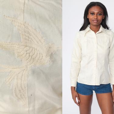 70s Bird Blouse Cream Lace Applique Boho Shirt Bohemian Top Swallow Shirt Novelty Print Button Up 1970s Hippie Long Sleeve Vintage Small by ShopExile