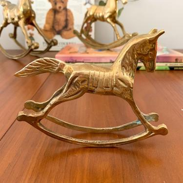 Small brass rocking horse by FrankiesVintageTrunk