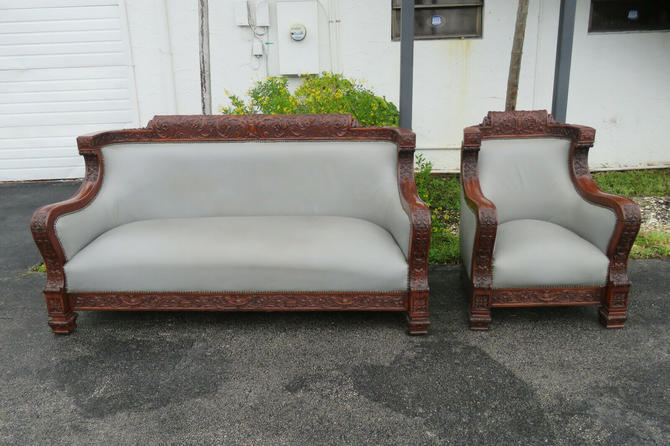 Heavy Carved Solid Mahogany Set of Long Sofa Couch and a Chair by Karpen 1566