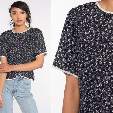 Navy Floral Blouse 80s Button Back Shirt Blue Short Sleeve Top Romantic Boho 1980s Vintage Bohemian Medium Large by ShopExile