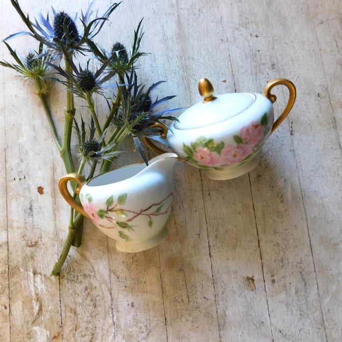Antique Porcelaine Ceramic Flora Sugar & Creamer (set of 2)