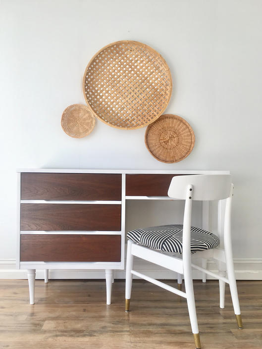 Cool Mcm Mid Century Modern Desk Chair Set White Walnut Home Remodeling Inspirations Genioncuboardxyz
