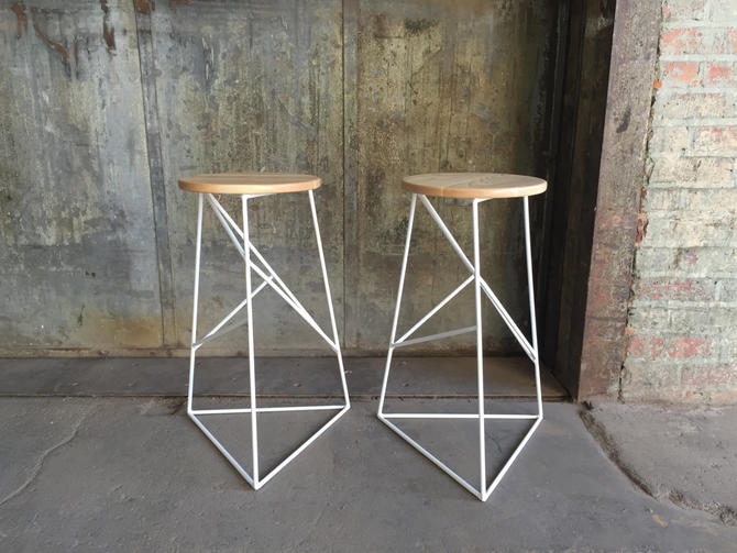 Short Modern Steel Stool with Solid Wood Top by PWHFurniture