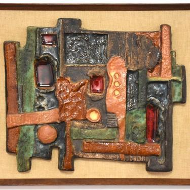 Mid Century Brutalist Ceramic Plaque by mixedmodern1