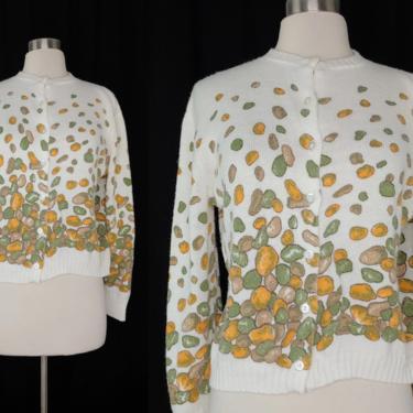 Vintage Seventies Diane Carole Acrylic Rock Print Cardigan Sweater - 70s Large Pebble Print Cardigan Sweater by JanetandJaneVintage