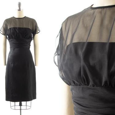 Vintage 1950s Cocktail Dress | 50s JONATHAN LOGAN Sheer Chiffon Overlay Black Rayon Wiggle Sheath Evening Party Dress (small) by BirthdayLifeVintage