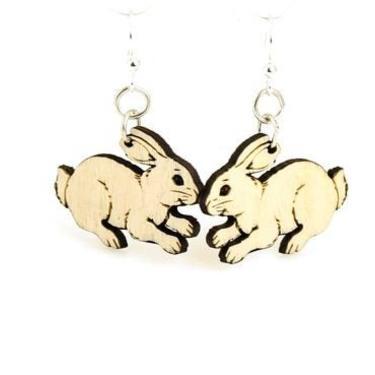 Cute Bunny Earrings - Lightweight - Eco Friendly Wood Earrings by GreenTreeJewelry