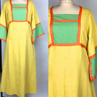 Vintage 1970s Color Block Heavy Cotton Bell Sleeve Dress, Mexican Maxi Dress, Folk Hippie Mexican Frida Kahlo, Size Medium by MobyDickVintage