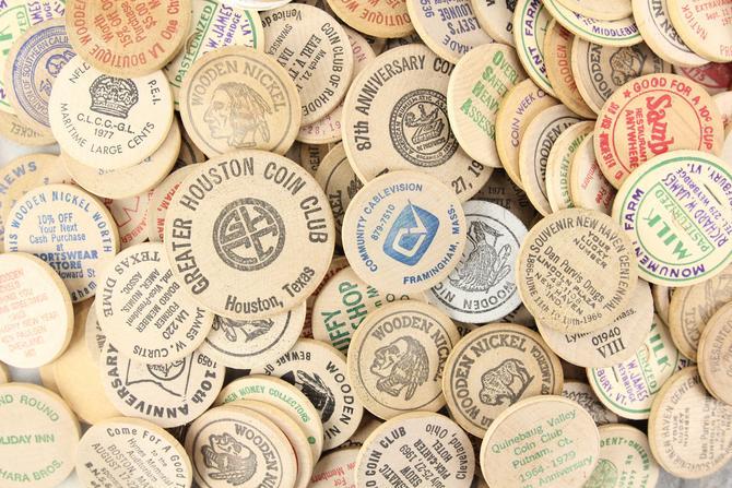 Assorted Vintage Wooden Nickels by MemoryHoleVintage