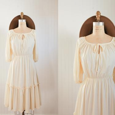 70s balloon sleeve peasant dress - small by foganddriftwood