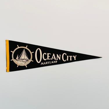 Vintage Ocean City Maryland Souvenir Pennant by DelveChicago