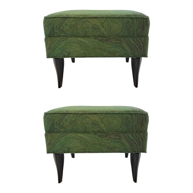 Modern Green Abstract Diva Ottomans Pair By: Currey & Company