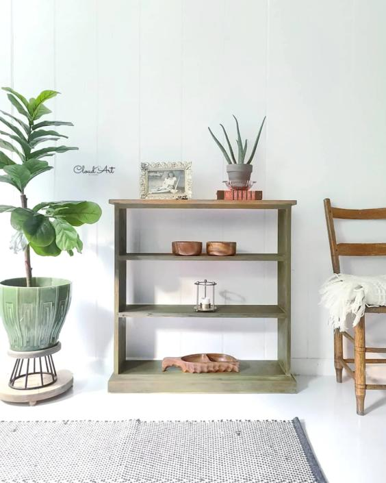 Bookshelf Plant Stand Boho Scandinavian Modern Small Table Entryway Neutral Decor Farmhouse Painted Maryland Furniture SHIPPING iS NOT FREe! by CloudArtbyKristen