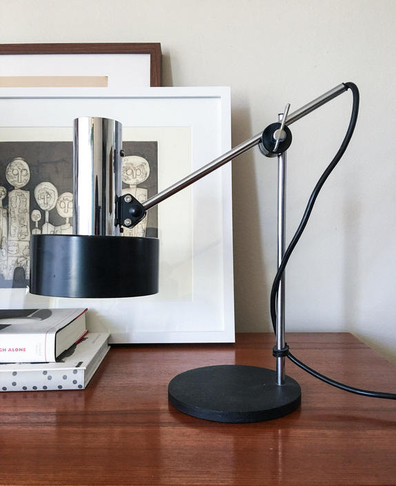 Helo Leuchten Sleek Black Shade Positionable Desk Lamp Vintage Fog Morup Hala Midcentury Germany by CaribeCasualShop