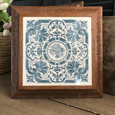 Antique French Blue Tile Trivet, Floral, Scroll Design, Artist Signed, Wood Frame, Rustic French Farmhouse Cuisine, Farm Table by JansVintageStuff
