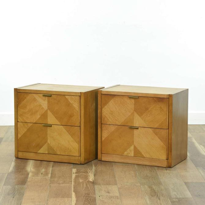 Pair Of Thomasville Art Deco Inlay Front Nightstands