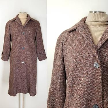 Vintage Tweed Wool Coat, Small Petite, New / Rust Brown Button Front Winter Coat / Long Retro Boho Chic Herringbone Overcoat by SoughtClothier