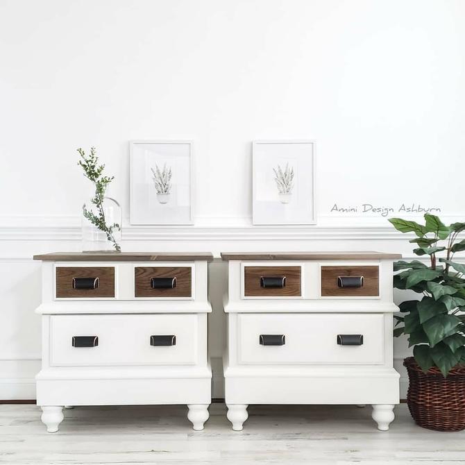 Hand Painted Nightstands Beautiful Wood Farmhouse Rustic Modern Furniture by AminiDesignAshburn