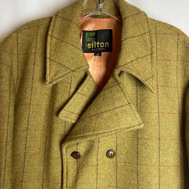 60's-70's Dandy split pea green Gold thin plaid wool fall/ winter  jacket~ pea coat style~ retro double breasted car coat~ stylish size 40 by HattiesVintagePDX