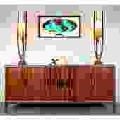 Stately Rosewood Walnut MCM Long Credenza Dresser