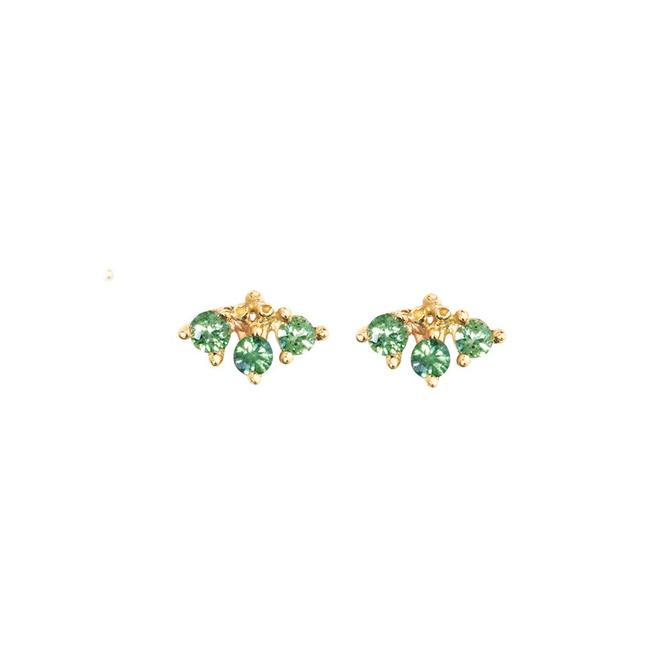 March Studs Green Sapphire