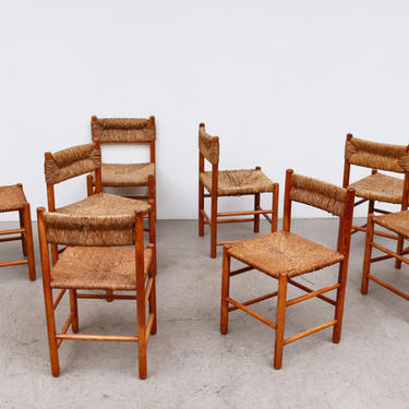 Set of 4 Charlotte Perriand Style Pine and Rush Dining Chairs