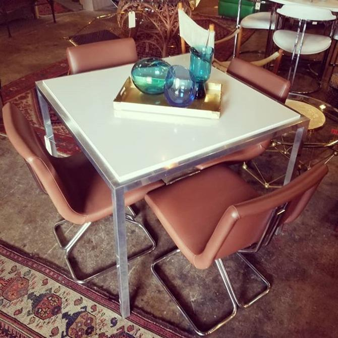 Mcm Chrome Base And Formica Table With 4 Chairs 375 From