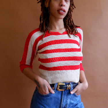 Vintage Striped Cropped Sweater/ 1980s Red and Beige Quarter Sleeve Knit Top/Thick Wide Stripes/ Size Small by bottleofbread
