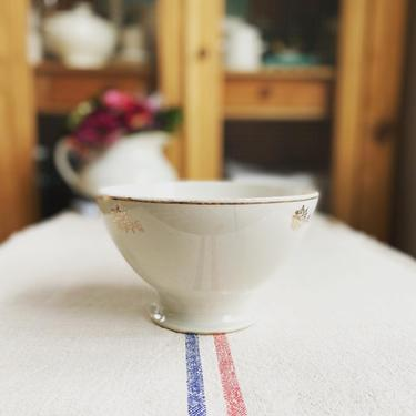 Beautiful huge vintage  French ironstone cafe au lait bowl with silver floral-BSF by Grainsacfrenchvintag