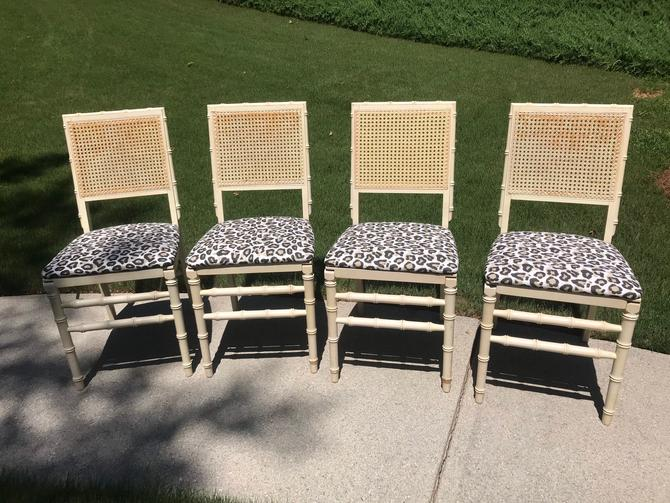 Vintage set of four Stakmor faux bamboo folding chair by HolbrookBazaar