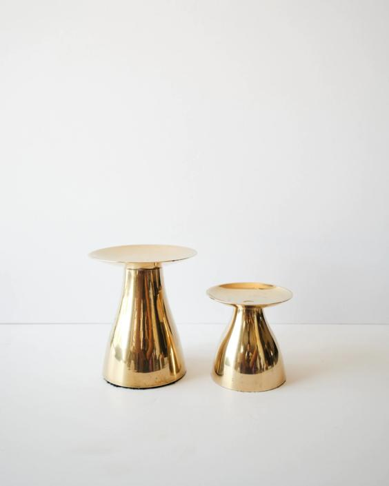 Pair of Vintage Minimal Brass Candle Holder by ShopLantanaLane
