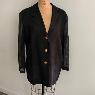 Louis Feraud Black Linen Blazer with Mesh Sleeves-Size M/L (14) by MartinMercantile