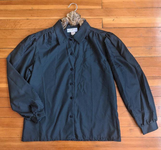 Vintage Black Polkadot Blouse by BTvintageclothes
