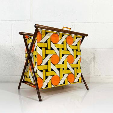 Vintage Knitting Basket Geometric Sewing Bag 1950s 1960s Fabric Crocheting Bag Rack Magazine Kit Box Tapestry Folding MCM Mid-Century Modern by CheckEngineVintage